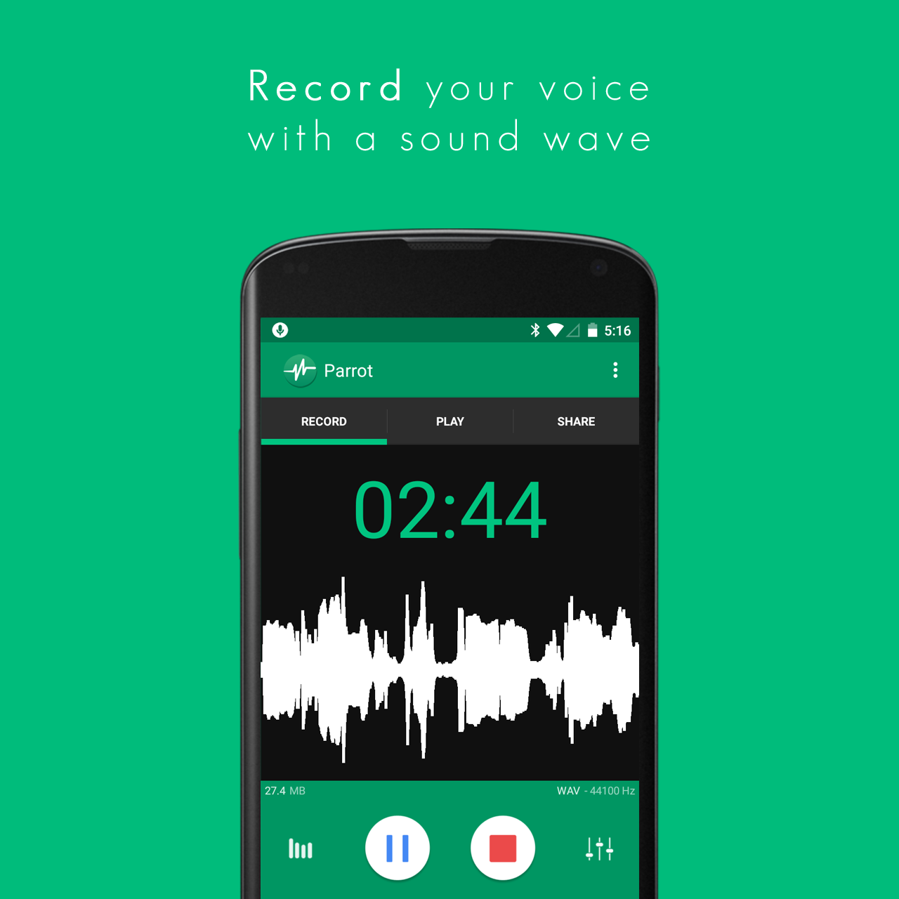 Parrot Voice Recorder for Android and BlackBerry 10
